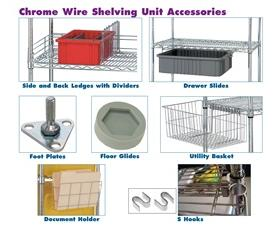 CHROME WIRE SHELVING UNIT ACCESSORIES